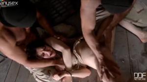 Mulher sendo violentada por dois machos
